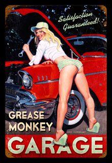 Grease Monkey - Vintage Tin Sign, Greg Hildebrandt
