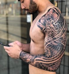 Incredibly detailed japanese sleeve otziapp com japanese inspiration inkstinct Phoenix Tattoo Sleeve, Samurai Tattoo Sleeve, Dragon Sleeve Tattoos, Japanese Sleeve Tattoos, Best Sleeve Tattoos, Tattoo Sleeve Designs, Asian Tattoo Sleeve, Tattoo Japanese, Phoenix Tattoo Men