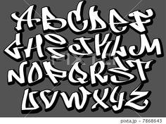 Hip Hop Graffiti Fonts | イラスト素材:Graffiti font alphabet letters. Hip hop type ...