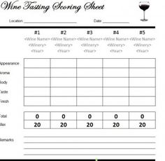 Wine scoring sheets | wine tasting forms | wine scorecards wine.