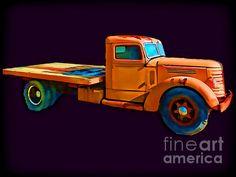 Title  Orange Truck Rough Sketch   Artist  Cathy Anderson   Medium  Photograph - Digital Art Photograph