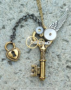 OneWing Steampunk Key by *Drayok  Artisan Crafts / Jewelry