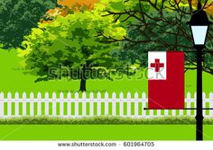 Tonga Flag, Landscape of Park, Trees, Fence wooden and Street light Vector Illustration