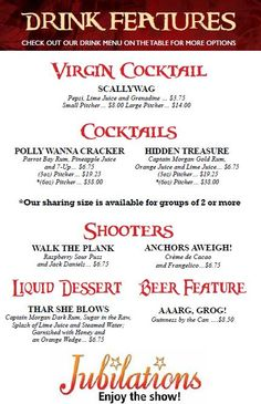 New Drink Features are available every show! Call 780-484-2424 to reserve your seats and give our drink features a try!