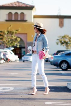 Weekend Ready: Duble Denims and Roses - Hallie Daily