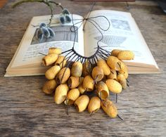 necklace gold silk cocoon. gold necklace. silk от batikelena