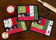 Quilt As You Go Log Cabin Mug Mats - We Whisk You A Merry Christmas