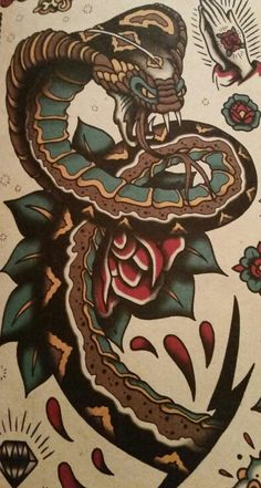 Discover the meaning behind Sailor Jerry's famous old school tattoos, from dragon tattoos to classic skull tattoo designs. Visit our Website for Traditional Snake Tattoo, Traditional Tattoo Old School, Traditional Tattoo Design, Dessin Old School, Old School Ink, Body Art Tattoos, Tattoo Drawings, Cool Tattoos, Tattoo Art