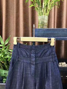 34766a63304 New 2017 spring summer runway brand fashion women soft denim wide leg pants  pockets high waist