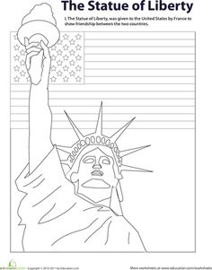 The Statue of Liberty is a national symbol of hope and freedom. Have fun teaching your child about this famous monument with this charming coloring page. Kindergarten Social Studies, Social Studies Worksheets, Social Studies Activities, Veterans Day Coloring Page, Free Homeschool Curriculum, Homeschooling, New York Theme, Have Fun Teaching, Drawing Sheet