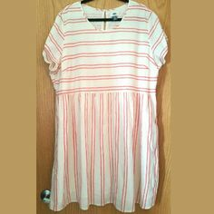 Old Navy Striped Linen Dress XXL, 100% Cotton This Old Navy Striped Linen Dress is a size XXL in 100% Cotton in great used condition. The Old Navy tag calls this pink and white. It's kind of coral and off white. No stretch. Fully lined. Side zip. Bust measures 26.5 inches across laying flat, measured from pit to pit. 39 inches long. ::: Bundle 3+ items from my closet and save 30% off when you use the app's Bundle feature! ::: No trades. Old Navy Dresses