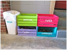 A cute homemade recycling center so you don't have to sort your trash on trash day.