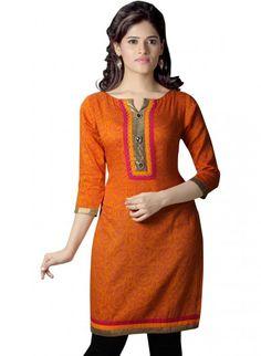 Orange Cotton Straight Cut Kurti #cotton #kurti