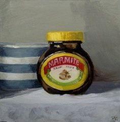 """Marmite and cornishware"" - Original Fine Art for Sale - © Penny German Cornishware, Tv Adverts, Still Life Flowers, Marmite, Art For Sale, German, Fine Art, Canning, Advertising"
