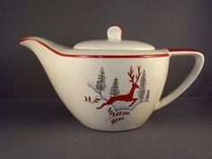 Crown Devon Stockholm Small Teapot - Leaping Stag - the perfect Christmas teapot!