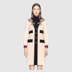 Gucci Embroidered wool coat Detail 4