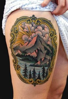 Tattoo mountains, lake and landscape #Tattoo, #Tattooed, #Tattoos