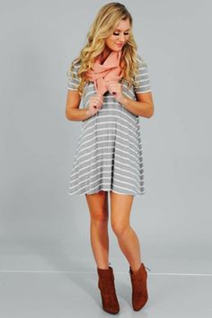 Share to save 10% on  your order instantly!  Sweet Surprise Dress: Gray/White