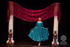 Indian wear Fashion show finale piece - the Anarkali teal suit