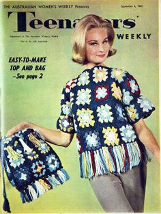 Make a top and bag from granny squares, 1963.  Well Mom Dees made a couple of afghans with the granny squares.