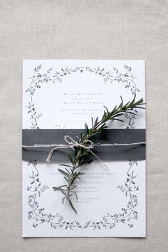 Wedding Invitation & Wedding Stationery- Grey & Gold Olive Wreath by Just My Type NZ
