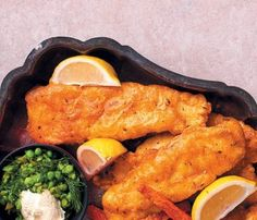 Battered hake with peas and sweet potato chips Hake Recipes, Fish Recipes, Batter Recipe, Chips Recipe, Rusk Recipe, Beer Battered Fish, Sour Cream Sauce, Fishcakes, Sweet Potato Chips