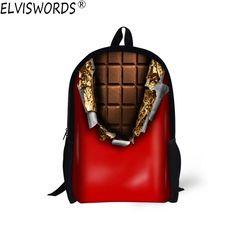19e95ae32b0 US  18.75  Aliexpress.com   Buy ELVISWORDS 3D Sweet Chocolate Printing School  Bag For Teenager Various Candy Bookbag Best Gift Bolsa For Daughter Daily  ...