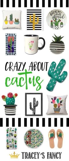 Crazy About Cactus Decor - Whimsical + Personality Home Decor Ideas by Tracey's Fancy - Cactus Art - Cactus Clothing - Cactus Accessories - Cactus Painting - Cactus Garden