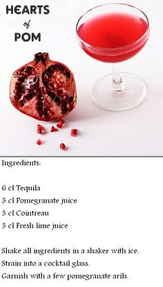 Hearts of Pom  drink, cocktail, pomegranate, Cointreau, tequila, lime, recipe