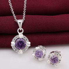 Gros 925 bijoux en argent sterling, 925 bijoux en argent cristal violet collier et boucles d'oreilles parures pour les femmes SS713 dans Lots de joaillerie de Bijoux sur AliExpress.com   Alibaba Group