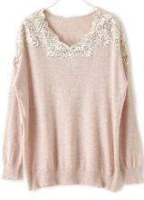 Pink Long Sleeve Lace Sequined Pullovers Sweater $36.77