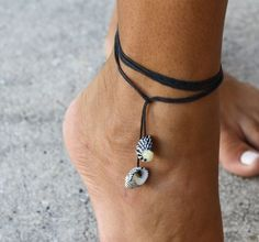 Zebra Seashell Multi-use Black String Jewelry - Anklet , Bracelet and Necklace - Summer, beach, surf, SUP style.. $9.95, via Etsy.