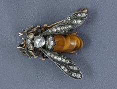 French Bee brooch | | Silver over gold, diamonds & tiger's eye | Can't verify due to no info at link