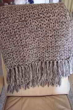 Afghan Blanket Full Size with Fringe in Taupe by MalachiBlessings, $96.00