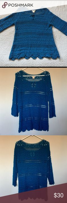 Lucky Brand Blue Crocheted Sweater Beautiful Lucky Brand Blue Crocheted Sweater with scalloped sleeves and hem.  Size Large. Lucky Brand Sweaters