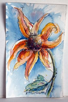 Burnt Orange Sunflower pen n ink watercolour giclee print Pen And Watercolor, Watercolor Paintings, Original Paintings, Watercolours, Orange Sunflowers, Yellow Sunflower, Architecture Art Design, Little Corner, Burnt Orange