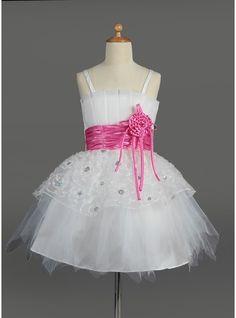 Empire Knee-length Flower Girl Dress - Tulle/Charmeuse Sleeveless Scalloped Neck With Flower(s)/Sequins