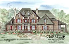 Garrell Associatiates, Inc.South Brickton Hall House Plan # 05163, Front Elevation, European Tudor Style House Plans, Elevator House Plans, (4,435 s.f.) Design by Michael W. Garrell