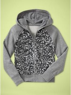 Sequin zip-front hoodie