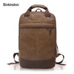 Bokinslon Men Backpack Bag Canvas Fashion Solid Color Famous Girl Backpack College Wind Canvas School Bag Women Casual