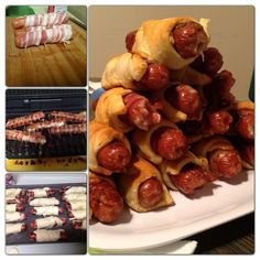 Grilled hotdogs wrapped in bacon stuffed with pepper jack cheese baked inside a crescent roll!!! Yum!!!!