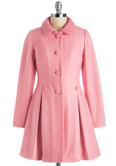 Raspberry Sherbet Coat. Slip into a garment thats as refreshing as your favorite fruity treat by donning this darling pink overcoat! #pink #modcloth