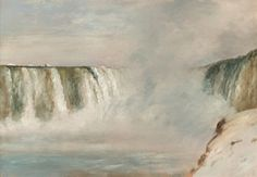Lockwood de Forest (1850-1932) Niagara Falls, 1877 Oil on paper 12 1/2 x 18 inches Initialed lower left: L de F 1877