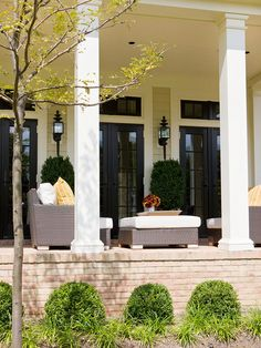 Extend Front Porch with Patio . Extend Front Porch with Patio . Front Porches — A Pictorial Essay Front Verandah, Screened In Porch, Side Porch, Porch Veranda, Front Porches, Patio Design, Exterior Design, Porch And Patio Paint, Black French Doors