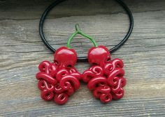 Cherry octopus pendant 🍒 Unique interesting jewelry with two berry octo. Cute Polymer Clay, Polymer Clay Projects, Polymer Clay Charms, Polymer Clay Creations, Diy Clay, Polymer Clay Jewelry, Clay Crafts, Rick And Morty Stickers, Food Sculpture