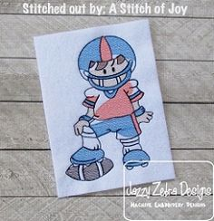 Football Player Sketch - 4 Sizes! | What's New | Machine Embroidery Designs | SWAKembroidery.com Jazzy Zebra Designs