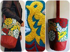 Bolso tipo morral. Bordado artesanal de Jalapa de Díaz Oaxaca #Artesanal #Hechoamano #HechoenMéxico #Handmade #Embroidery #Diseñomexicano de @Lunaje