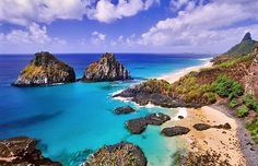 Fernando de Noronha, Brazil. An archipelago of 21 islands and islets in the Atlantic Ocean, 220 miles offshore from the Brazilian coast.