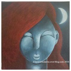 Lune rousse, 20x20, acrylique sur toile, 2016