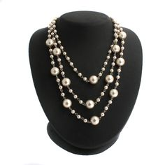 """Majestic Pearl Platinum Plated White Simulated Pearl Adj 3 Row 16"""" Necklace N914 #MajesticPearl #StrandString"""